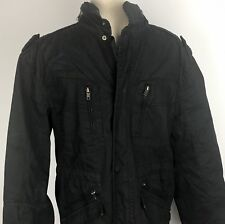 Cherokee Mens Field Jacket Zip Snap With Zip In Collar Hoodie Sz Small Black