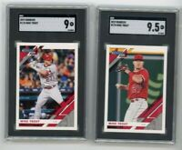 (2) Card Lot 2019 Panini Donruss #170 Mike Trout SGC 9 & 9.5 Base + Variation