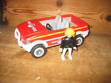 PLAYMOBIL FIGURE LARGE PUSHALONG  FIRE ENGINE CAR 2008 NO ROOF APPROX 7 INS LONG