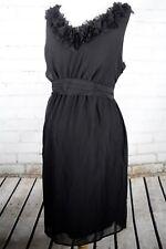 39d33d70c2187 Liz Lange Maternity Sleeveless Dress Ruffle Neck Size M Black Waist Bow  Formal