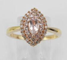 Morganite and Diamond Halo Engagement Ring Cluster Promise Yellow Gold Size 7.25