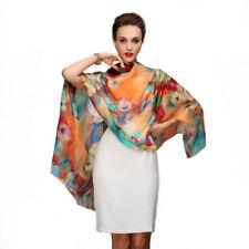 4fa58b0c8787 Foulard 175 X 110 cm 100% Soie Multicolore - Silk séide scarf shawl Floral