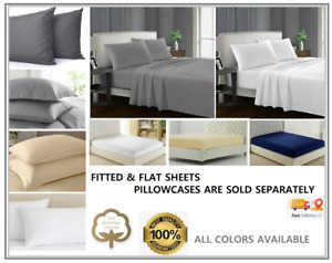30cm Deep Flat Sheets Fitted Sheet Bed Covers 100% Cotton Super king Bedding