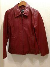 LESLIE FAY Size Medium Dark Red Leather Jacket