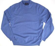 Lands End Cashmere Sweater M Medium Blue Crew Neck Long Sleeve Pullover Soft