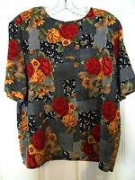 Ship 'n Shore Women's Floral Short Sleeve Pullover Top Blouse Size 16