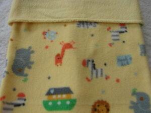 Noah's Ark Reversible Yellow Fleece Handmade Blanket