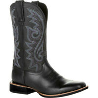 Men Embroidery Square Toe Mid-Calf Knight Boots Retro Western Cowboy Broad Shoes