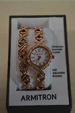 NEW ARMITRON Women's 75/5412WTRGST Swarovski Crystal Accented Rose Gold-Tone