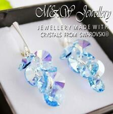 925 Silver Earrings Crystals From Swarovski® XILION RIVOLI - Aquamarine AB