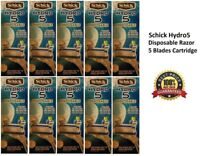 10 Schick Hydro5 Disposable Razor Cartridges Handle 5 Blades Cartridge unboxed