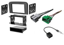 (Grey) Single/Double DIN Stereo Dash Kit Radio Harness & Antenna Wire S80 99-06