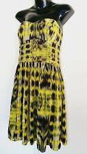 Country Road Dress Size Silk Strapless Yellow Black size 12 M formal party