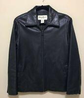 Eddie Bauer Black Lamb Leather Full Zip Jacket Pockets Soft Lined Women's S