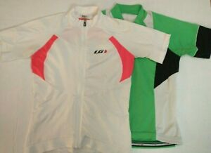 Louis Garneau White and Green Cycling Jerseys Womens Size Small LOT OF 2