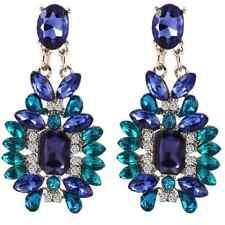 ORECCHINI CHIUSURA A FARFALLA Bohemia Blu argento cristallo stile Statement