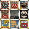Retro Route 66 Print Linen Pillow Case Soft Cushion Cover Home Cafe Decor Health