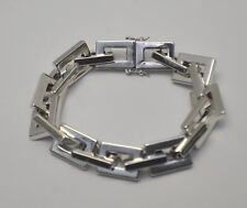"Bronze Polished Rectangle Link Bracelet by Milor Bronzo Italia 8"" Silver tone"
