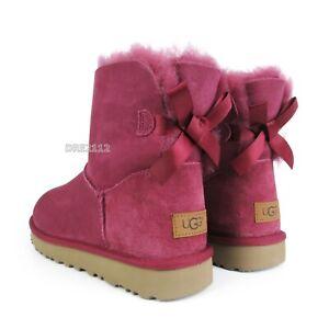 UGG Bailey Bow Mini II Garnet Suede Fur Boots Womens Size 9 *NIB*