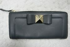 KATE SPADE NEW YORK black 100% leather bow terrace nisha continental wallet NWOT