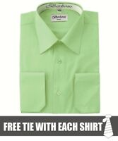 Berlioni Italy Men's Convertible Cuff Solid Dress Shirt New Mint + FREE TIE