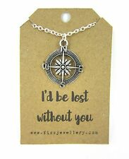 "Silver Compass Necklace ""I'd Be Lost Without You"" Message Card Quote Gift"