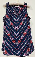 Maurices Sleeveless Blouse Top Tank Navy Blue Floral Size Small