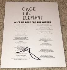 MATT SHULTZ SIGNED CAGE THE ELEPHANT AIN'T NO REST FOR THE WICKED LYRICS SHEET