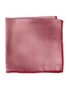 Brunello Cucinelli Wine Red and White Dotted Silk Pocket Square - New