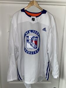 Adidas NHL New York Rangers Players Pro Practice Jersey, Size 56, White, CR4344