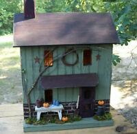 Farmhouse , Fall Decor , Pumpkins , Primitive Birdhouse , Lighted House , Fall
