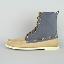 New Mens Sperry A/O Leather Canvas Boat Deck Boot Oatmeal Blue UK 7 BNIB Shoes