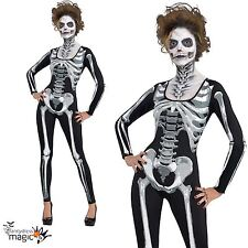 Womens Adult Black and Bone Skull Skeleton Catsuit Halloween Fancy Dress Costume
