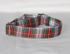 """1"""" Small (whippet) Martingale Dog Collar Red, Green & White Plaid"""