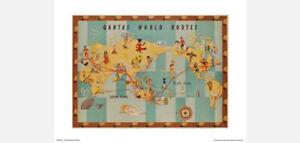 "Qantas World Route Map Poster Print – 1950s Retro Design – 50 x 40 cm 20"" x 16"""