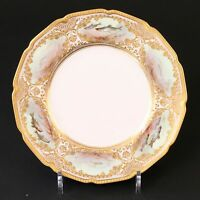 12 Antique Royal Doulton Hand-Painted and Gilded Fish Plates, artist signed,gilt