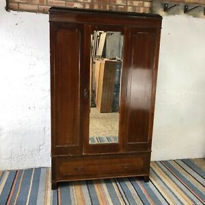 Vintage Double Wardrobe with Mirrored Door and Drawer