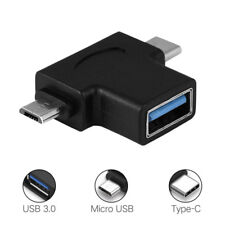 2 In 1 OTG Adapter USB 3.1 Type-C + Micro USB Male to USB 3.0 Female Converter