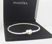 Authentic Pandora Bracelet Heart Clasp Sterling Silver 7.9in 590719 20cm W/ Box