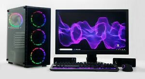 "GAMING PC Setup Quad i5 8GB 240SSD 500GB 2GB GDDR5 GTX 1030 22"" TFT WINDOWS 10 H"