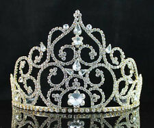 MAGNIFICIENT AUSTRIAN RHINESTONE CRYSTAL CROWN TIARA COMBS PAGEANT GOLD H1397G