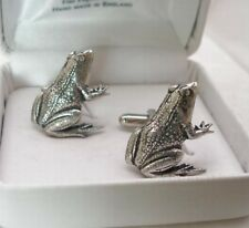 Frog Cufflinks in Fine English Pewter, pond life