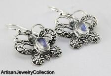 RAINBOW MOONSTONE BALI BUTTERFLY EARRINGS 925 SILVER ARTISAN JEWELRY T167