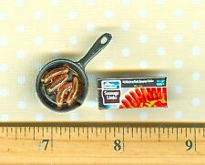 Dollhouse Miniature size Frying Pan with 4 Link Sausages, and Sausage Box