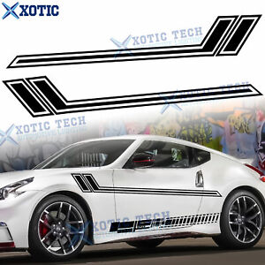 2x Black Auto Side Skirt Body Sporty Style Graphics Sticker For Nissan 2000-up