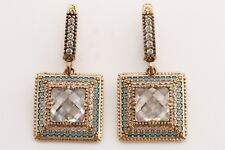 Turkish Jewelry Square Shape White Topaz Turquoise 925 Sterling Silver Earrings