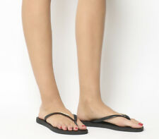 Womens Havaianas Slim Logo Metallic Exclusive Black Gold Sandals