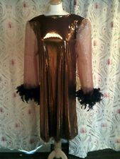 Drag Queen Bronze SHORT dress with Black feathers 14/16