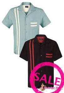 Chet Rock Oldschool  Vintage Rockabilly Bowling Shirt mint/schwarz Hemd NEU