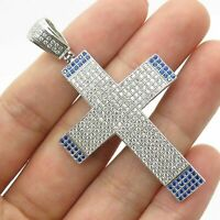 Men's Blue and White Round Diamond Large Holy Cross 925 Sterling Silver Pendant